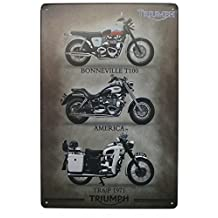 Triumph America Metal Tin Sign, Vintage Style Poster Plaque Wall Ornament Bar & Coffee & Home Decor, 20 X 30 Cm