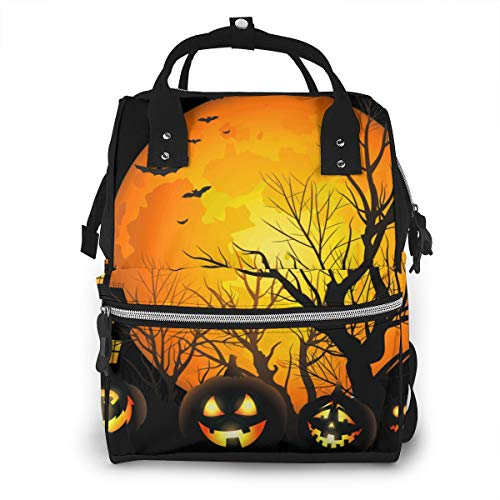 Diaper Backpack Halloween Moon Night Pumpkins Baby Bag Multi-Function Waterproof Travel Backpack Mummy Nappy Changing Bag Organizer with Stroller Straps