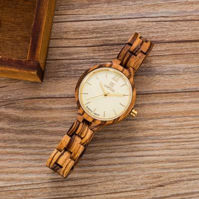 Watch Tiger Woods Ladies (Uwood Fashion Women Luxury Wooden Watches Handmade Natural Sandal Maple Wood Watch Ladies Quartz Dress Wristwatch Coffee)