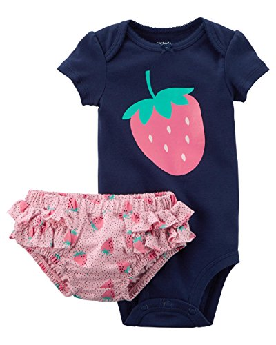 (Carter's Baby Girls 2 pc Cotton Bodysuit Diaper Cover Set w/Ruffle Strawberry (3M) )