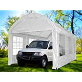 Peaktop® 20'x10' Heavy Duty Outdoor Carport Car Shelter Garage Gazebo Canopy Party Tent Arch Style White