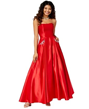 03fef6ea0 Amazon.com: Blondie Nites Juniors' Embellished Strapless Gown (Red ...