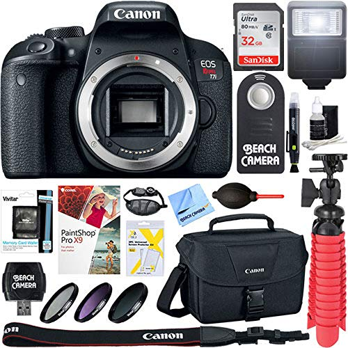 Canon EOS Rebel T7i Digital SLR Camera (Body) + Sandisk Ultra SDHC 32GB UHS Class 10 Memory Card, Up to 80MB/s Read Speed + Accessory Bundle