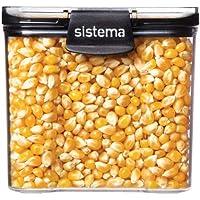 Sistema J7S91 Ultra Square Food Container, 700ml, Black & Stone