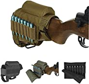 Rifle Buttstock, Adjustable Tactical Cheek Rest Pad Ammo Pouch with 7 Shells Holder for Hunting Shooting