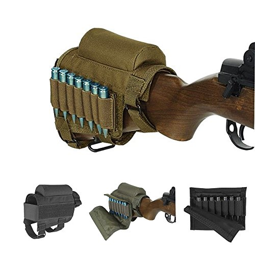 - WuuYe Rifle Buttstock, Adjustable Tactical Cheek Rest Pad Ammo Pouch with 7 Shells Holder for Hunting Shooting (Khaki)