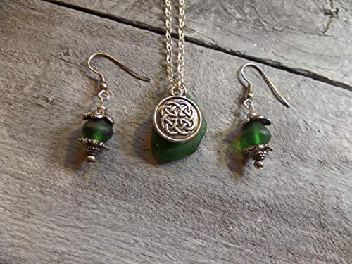 (Celtic Knot Scottish Sea Glass Necklace and Earrings Set, Green and Silver)