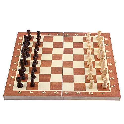 Wooden Chess Set Game with Magnetic Chess Pieces and a Flat Chess Board with Storage Drawer Box by Delaman (Boxwood Standard Chess Pieces)