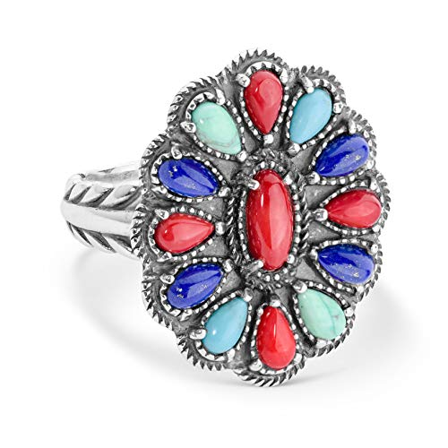 American West Sterling Silver Blue Lapis, Turquoise and Red Coral Multi Gemstone Cluster Design Ring Size 7