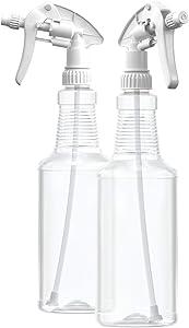 BAR5F Empty Plastic Spray Bottles 32 oz, BPA-Free Food Grade, Crystal Clear PETE1, White M-Series Fully Adjustable Sprayer (Pack of 2)