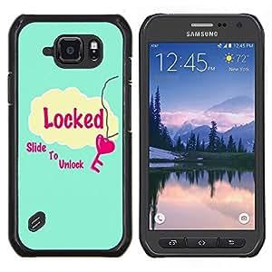 Caucho caso de Shell duro de la cubierta de accesorios de protección BY RAYDREAMMM - Samsung Galaxy S6Active Active G890A - Deslice para desbloquear Corazón Azul Rosa