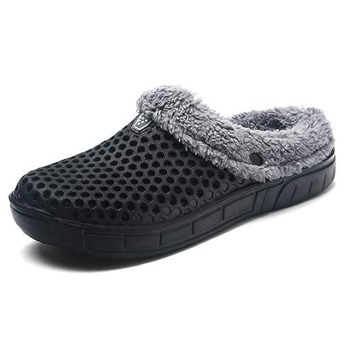 Uirend Zapatos Zapatillas Hombre - Zuecos Hombres Slipper Zapatos de Jardín Zuecos de Piel en los Tobillos Chanclas Cálido Invierno Casa Zapatos: Amazon.es: ...