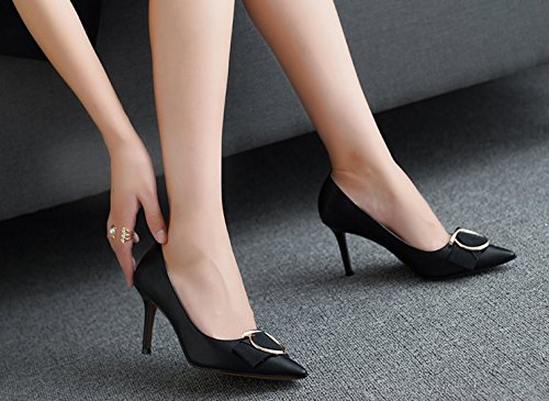 Buckles Shoes Head Spring Single Leisure Work Sharp MDRW Maid Heels Heels Fine Black Metal 39 Shallow Elegant Shoes Shoes Women'S 7Cm Lady w7CqWY6