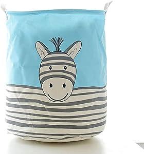 JYPHM Laundry Basket Large Sized Cotton Fabric Folding Laundry Hamper Bucket Cylindric Storage Basket with Handles Blue