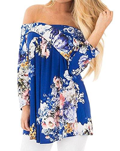 Camicia Blue donna LAMEZI lunghe Maniche Classico Floreale ax1wwndgqf