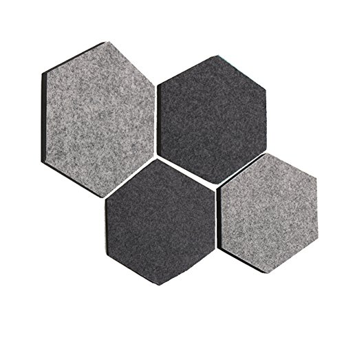 Thehaki Sandwich Felt Board Hexagon Type Memo Board (CityVibe 4pcs - Mirror Hexagon Framed