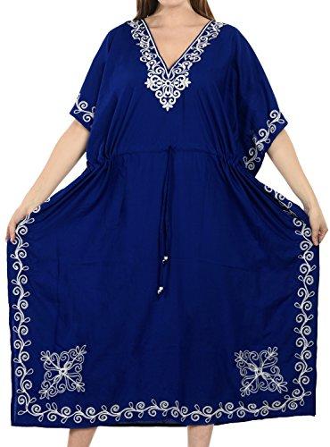 LA LEELA PV Solid Long Caftan Nightgown Women Royal Blue_1062 OSFM 14-32W [L-5X] by La Leela