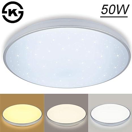 Vgo plafón LED salón lámpara de cocina Starlight efecto techo iluminación lustre dormitorio comedor de bajo consumo (50W Redonda Cambio De Color)
