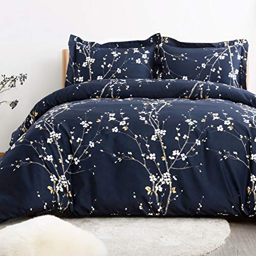 Bedsure Spring Bloom Pattern Bedding Set Full/Queen (90x90 inches) Duvet Cover Set Navy Printed Modern Comforter Cover-3 Pieces-Ultra Soft Hypoallergenic Microfiber (Covet Duvet)
