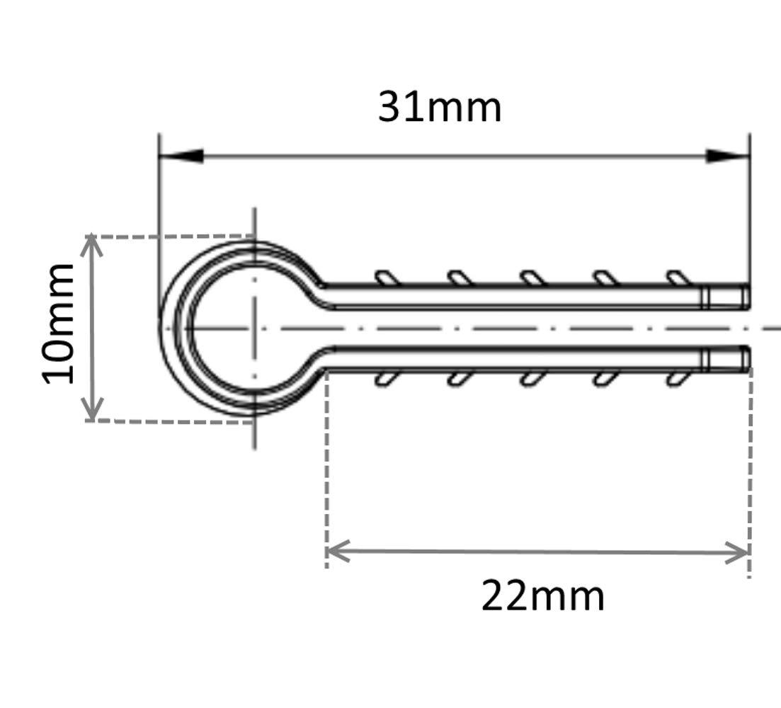 100x Grapa taco para fijaci/ón de cable alambre max /Ø6mm blanco C41895 AERZETIX