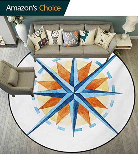 RUGSMAT Compass Machine Washable Round Bath Mat,Watercolor Directions North South East West Windrose Pathfinding Work of Art Non-Slip No-Shedding Bedroom Soft Floor Mat,Diameter-47 Inch ()