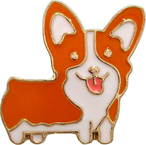 (Brown & White Corgi Dog with Tongue Out Enamel Pin)