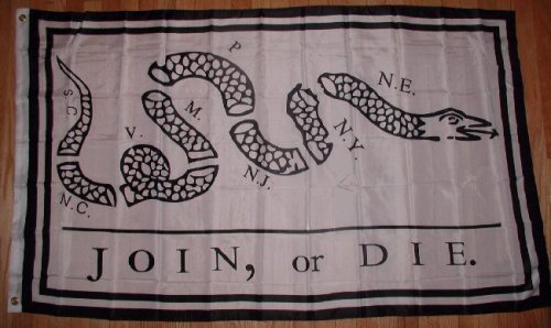 Join or Die 3x5 Flag Benjamin Franklin Snake 3 x 5 NEW Garden, Lawn, Supply, Maintenance