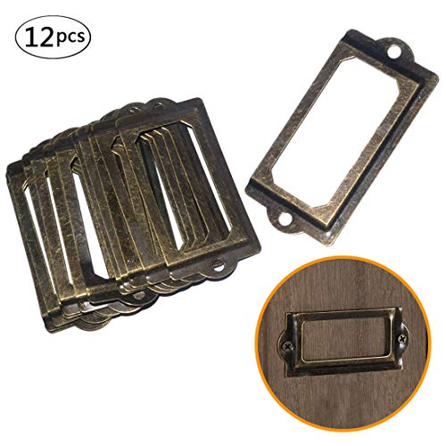 (Rivoean Antique Brass Metal Label Pull Frame Handle File Name Card Holder for Furniture Cabinet Drawer Case File Drawer Tag)
