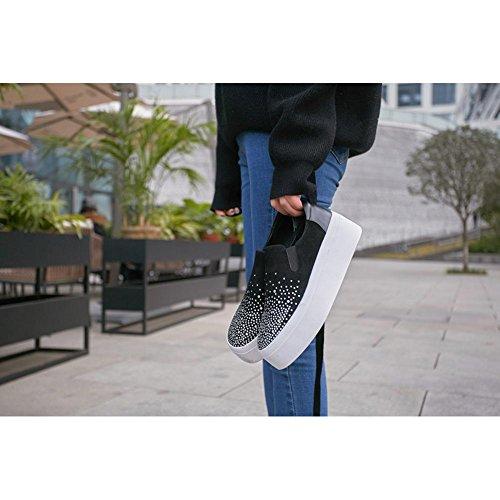 Piattaforma WSXY all'Aperto Donna Suola Strass Fitness A3017 Accessori KJJDE nero Spessa di Casual Interior Sneakers qtwnT157