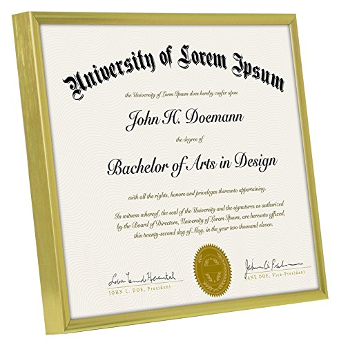 Gold Metal Document Frame - Made to Display Certificates 8.5 x 11 ...