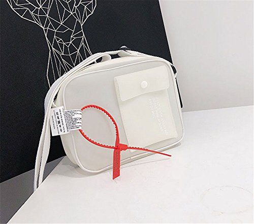 Rrock Bolso De Hombro De Mujer Transparente De Plástico Jalea Messenger Bag Estudiante Bolso Simple Color Sólido De Cuatro Colores,White White