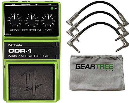 Nobels ODR-1 Overdrive Guitar Effects Pedal w/ 3 Patch Cables and Geartree Cloth