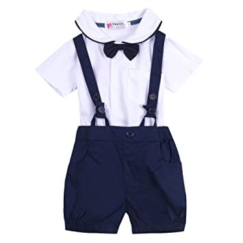 8f41d50f4121f Sylvamorning 男の子 洋装フォーマル ベビー服 ボーイズ 長袖 フォーマル スーツ シャツ + サロペット 上下セット 子供服