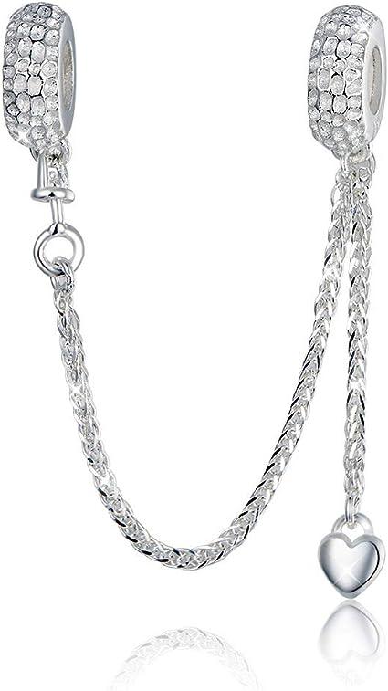 Breloque en argent sterling 925 avec chaîne de sécurité pour bracelet  Pandora et cœur en cristal de zirconium transparent Style 2