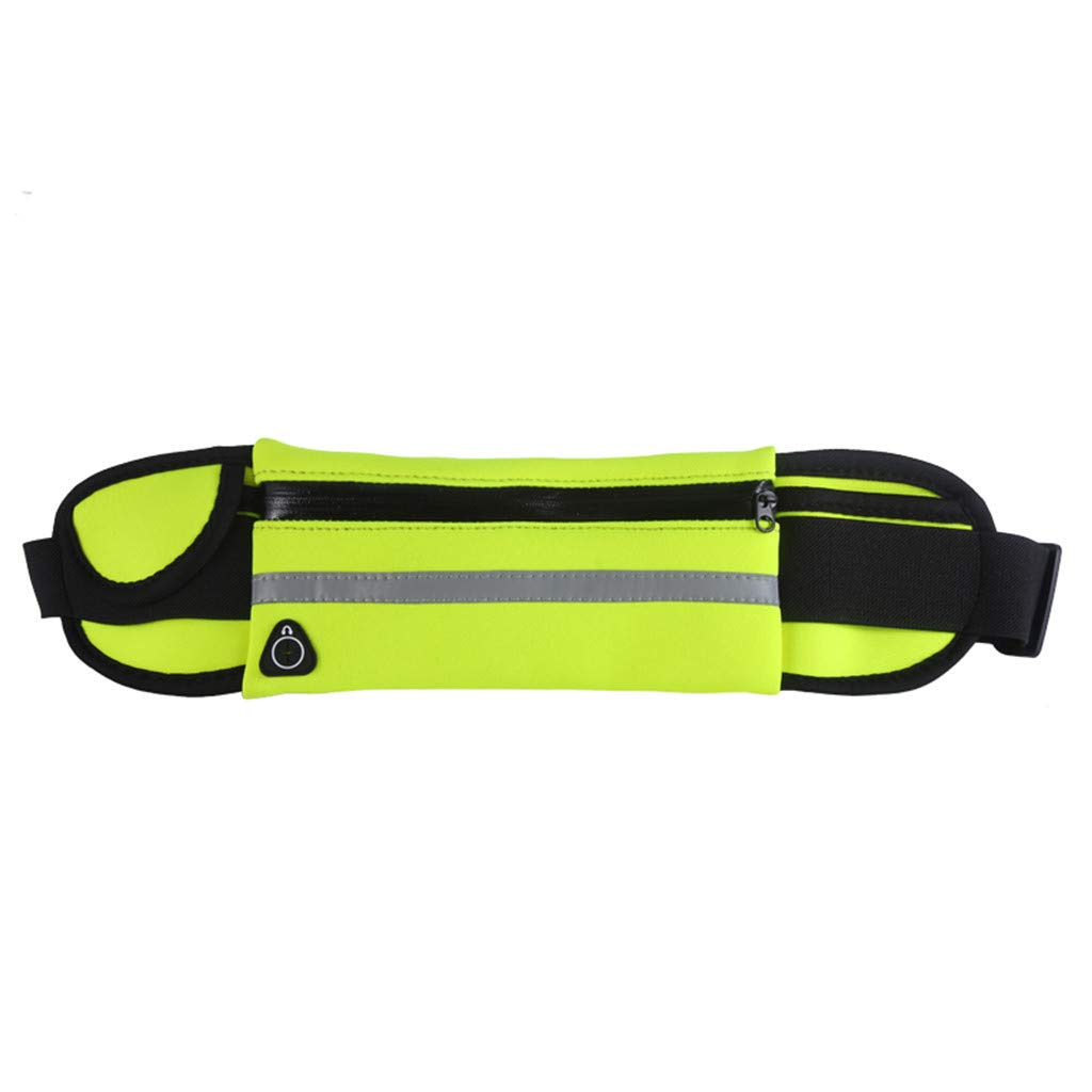 Pulison Running Pouch Belt Waterproof Sport Runner Waist Bum Bag Running Jogging Belt Pouch Zip Fanny Pack Length 70 cm to 115 cm for Men and Women (Green)