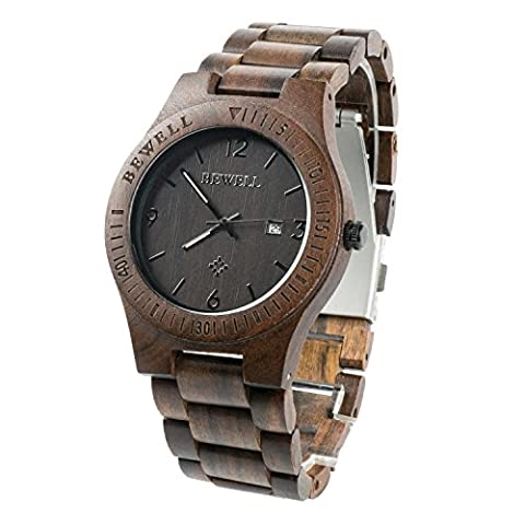 Bewell Wood Men Watch Quartz Movement Day Display Lightweight Vintage Wristwatch (Black Sandalwood) (30mm Watch Face Protector)