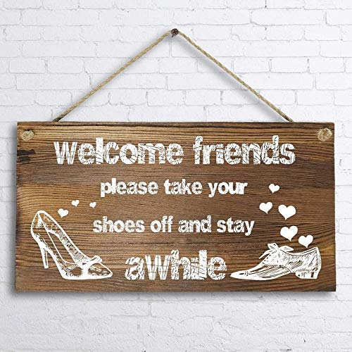 Supvivi Decor Ative Wood Sign Home Welcome Friends,Please take Your Shoes Off and Stay awhile 5 x 10 inch Hanging Wall Art (Art Sculptures Near Me)