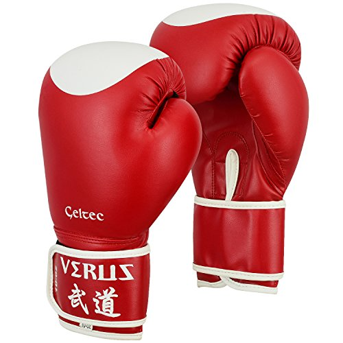 (Verus Boxing Fighting Bag Gloves MMA Muay Thai UFC Training Mitts Kickboxing (Red/Target, 10oz))