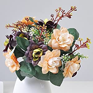 Emulation flower bouquet of roses living room dining table home decor small fresh roses artificial flowers Silk flower plastic flowers high 30cm 87