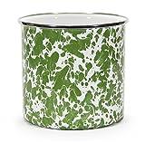 Kitchen Utensil Holder Crock Kitchen Storage Organization Containers Green Swirl Enamelware 6'' Set of 2