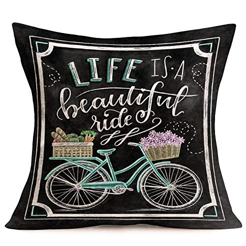 Asminifor Pillow Covers Blue Bike Bicycle Flower with Quote Life is A Beautiful Ride Throw Pillow Cover Square Cushion Cover Cotton Linen 18