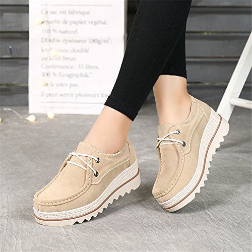 0dc1c9f8ade4 HKR-JJY3089xingse41 Women Lace Up Platform Wedge Oxfords Shoes Comfort  Round Toe Suede Moccasins Shoes