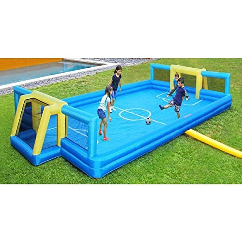 Outdoor Blue/ Yellow 26-feet x 14-feet Inflatable Soccer Court with Carry Bag (INF-2107). 312L x 168W x 42H - Assembly Required by Sportspower