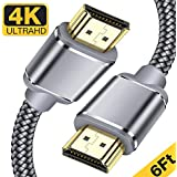 HDMI Cable,Capshi 4K HDMI 2.0 Cable High Speed Nylon Braided 6ft (4K @ 60Hz) Ultra 18Gbps HDMI Cord Support Ethernet, Audio Return, Video 4K UHD 2160p, HD 1080p, 3D, Playstation PS3 / 4 PC (Grey)