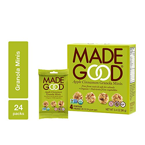 - MadeGood Apple Cinnamon Granola Minis, 6 Boxes (0.85 oz., 24 ct); Crunchy Granola Clusters in Snack Bags; Certified Organic, Nut-Free, Vegan, Gluten-Free, Allergy-Friendly Healthy Snacks