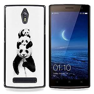 """Planetar ( Panda Bears Bambú Negro blanco del bebé lindo"""" ) OPPO Find 7 X9077 X9007 Fundas Cover Cubre Hard Case Cover"""