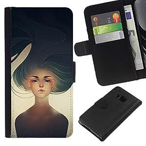 EJOY---La carpeta del tirón la caja de cuero de alta calidad de la PU Caso protector / HTC One M7 / --Chica Heartbreak Sun Arte Pintura