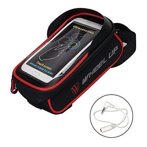 WATERFLY Bike Bag, Frame Bike Bag with Waterproof Touch Screen Bicycle Handbar Front Phone Holder for iPhone 7 Plus 8Plus 6 plus/Samsung Galaxy s7 note 7 Cellphone Below 6.0 Inch (Plus Bag)