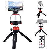 PULUZ Electronic 360 Degree Rotation Panoramic Head + Tripod Mount + GoPro Clamp + Phone Clamp with Remote Controller for Smartphones, GoPro, DSLR Cameras (Red)