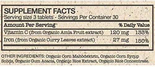 Futurebiotics Iron + Vitamin C, USDA Certified Organic, 90 Vegetarian Tablets